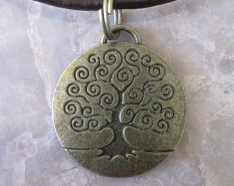 Wicca Pagan Bronze Tree of Life Pendant Leather Handmade Necklace