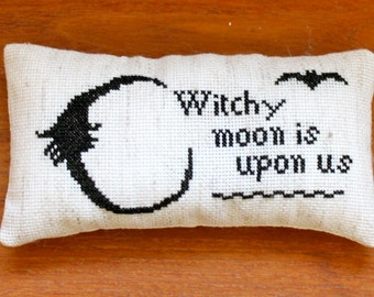 "Mini Primitive Cross Stitch Halloween Pillow- 6""x 3 1/4""- Made to Order"