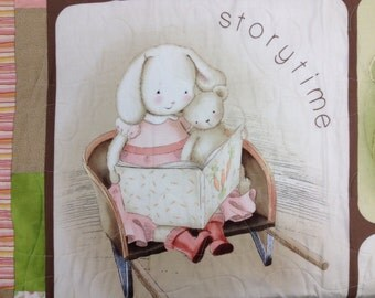 """Baby Bunny Pastel Pieced Throw Quilt, 36"""" x 45"""""""