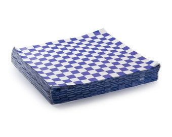 "48 Blue and White Checkers Sandwich Wrap, Wax Paper Sheets, 12 x 12"", Food Basket Liner, Food Safe Paper, Checkered Paper"