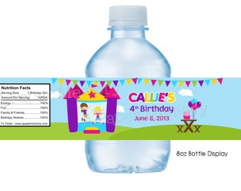 Bounce House Girls Water Bottle Labels DIY Printable