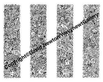 Instant PDF Download Hand Drawn Zentangle Inspired 'Mindjunk' Coloring Colouring Page Abstract Zendoodle Black and White Drawing Bookmarks