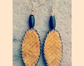 Gold unique handmade oval shaped beaded african print dangler earrings