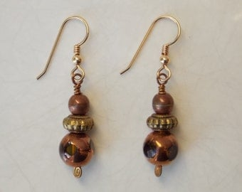 Copper & Glass Bead Dangle Drop Earrings with Brass Adornment