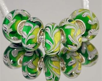 Murano glass beads, green, white and yellow. Single inside core. Fits most European charm bracelets. Price is for 1 bead.