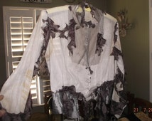 Antique civil war Steampunk blouse for study~intact cotton for pattern