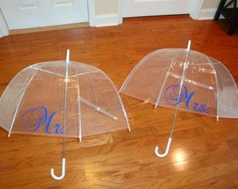 "Mr. & Mrs. 46"" golf umbrellas (set of 2)"