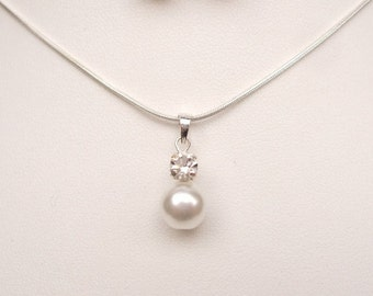 Pearl and diamante drop necklace, Sterling Silver bridal necklace, pearl wedding necklace cream white pearl pendant pearl BRIDESMAID jewelry
