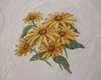 Finished counted cross stitch ready to frame. Beautiful Sunflowers.