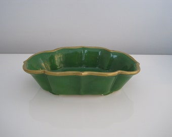 Vintage Green and Gold Bowl