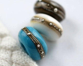 Trio of large hole beads with silver/ Big hole beads set/ European charm bracelet / Silvered beads