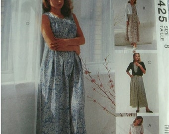 Misses Unlined Jacket, Dress and Jumpsuit Size 8  EASY Mccalls Sew News The Fashion Collection Excellent Condition UNCUT Pattern 1993