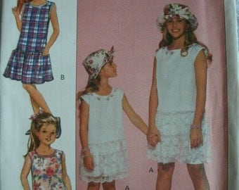 Girls Dress, Shorts and Hat Girls Size 7-8-10 Butterick Fast & Easy Pattern 6728 Rated Very Easy to Sew  UNCUT Pattern 1993