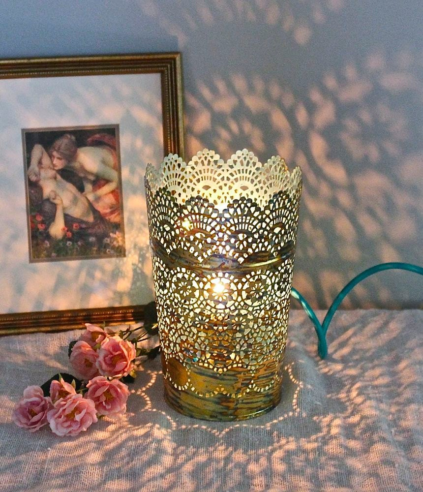 GOLD HAND GILDED TABLE LAMP BLUE SHABBY CHIC BOHO LIGHTING COTTAGE FIXTURE  DECOR BEDROOM LAMP KITCHEN CHILDRENu0027S NIGHT LIGHT  MYSECRETLITE On The Hunt