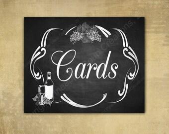 Rustic Vineyard DIY Wedding CARDS sign - Chalkboard Style - Perfect for vineyard or winery weddings