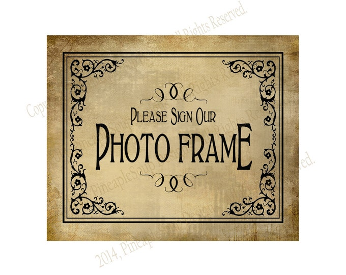 Please sign our Photo Frame PRINTABLE Wedding sign - Please sign our guestbook - Vintage Black Tie design Wedding