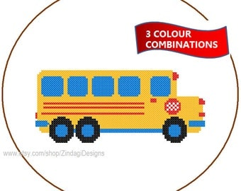 Instant Download Bus Cross Stitch Pattern 3 colour combinations red blue yellow green wall cushions sweater transport boy nursery gift