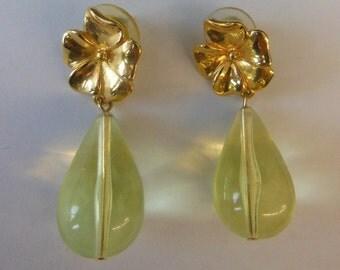 TRIFARI Gold Tone Flower Yellow Teardrop Earrings