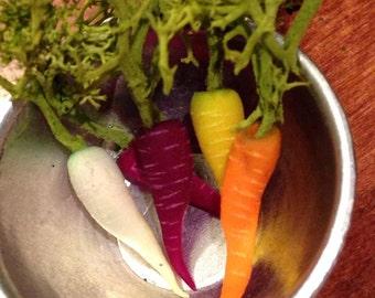 Dollhouse Miniature Food - Miniature polymer clay heirloom carrots