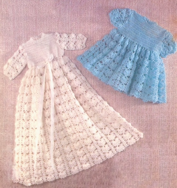 Crochet Baby Robe Pattern : Baby Crochet Christening Robe /Gown and Dress in 3ply yarn for