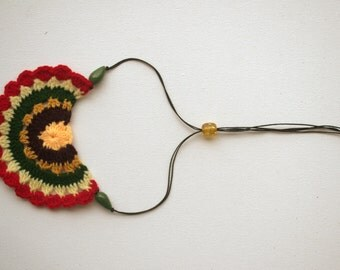 Colorful Crochet Bib Necklace - Bohemian -yellow, brown, mustard, green, red
