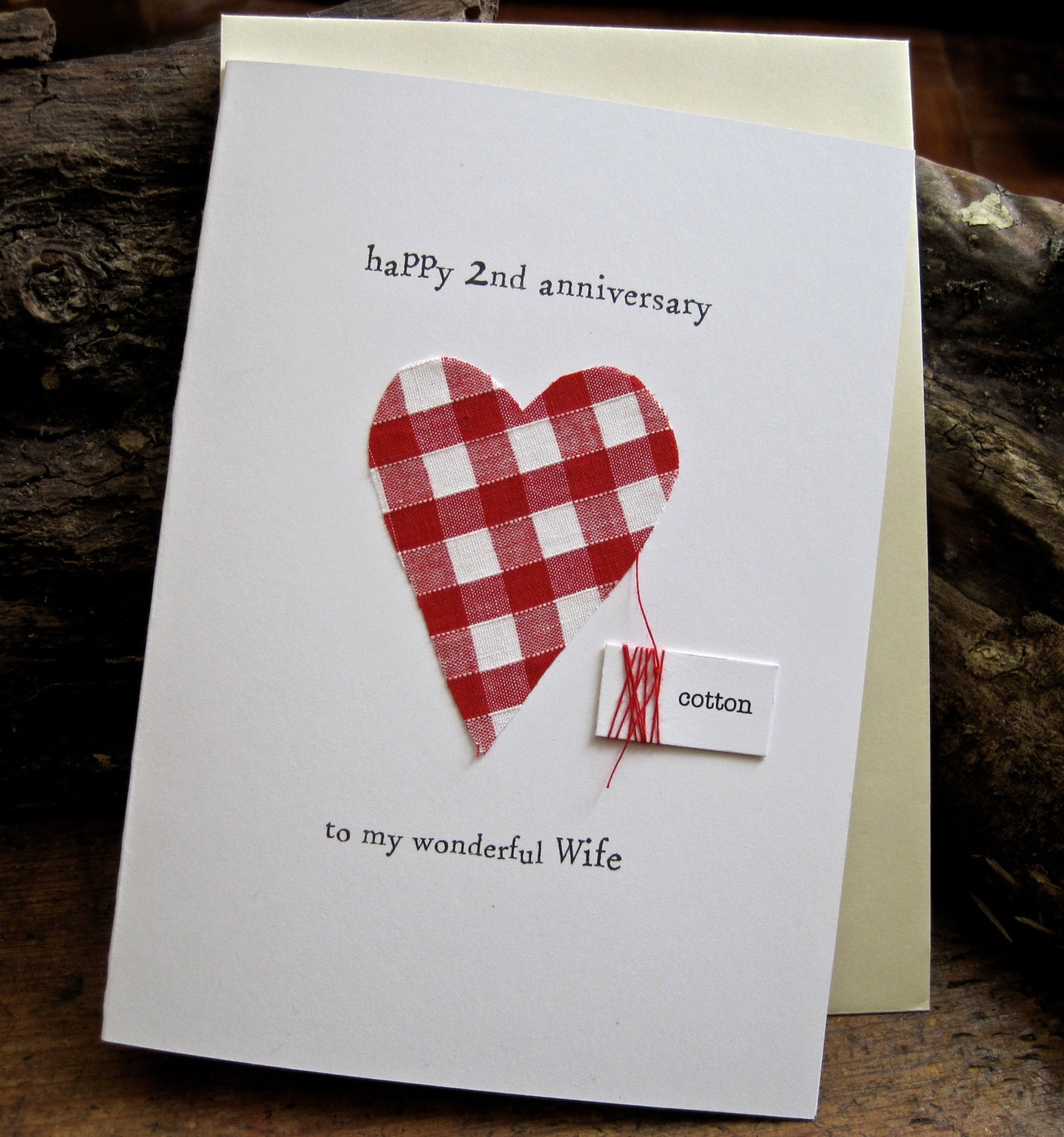 Second Wedding Anniversary: 2nd Wedding Anniversary Keepsake Card Cotton Handmade