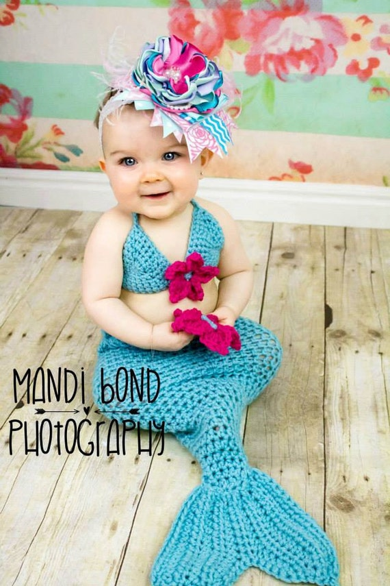Crochet Pattern For Baby Mermaid Tail : Crochet Mermaid Outfit Crochet Mermaid Set Crochet Mermaid