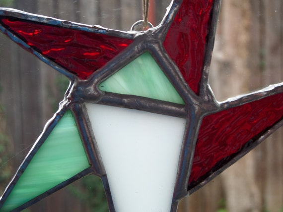 Minty Christmas, Hand Crafted Stained Glass Star Ornament