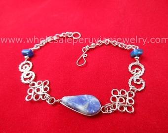 Blue Sodalite Teardrop Alpaca Silver Diamonds Bracelet Peruvian Jewelry - Handmade in Peru