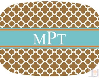 Modern brown, aqua and orange quatrefoil monogrammed platter.  The perfect gift- entertain with style! Dishwasher safe! Custom gifts!!