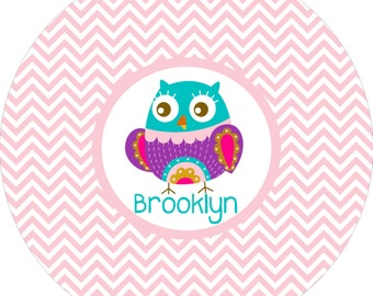 Personalized girls chevron owl plate! A custom, fun and UNIQUE gift idea! Custom colors available!!