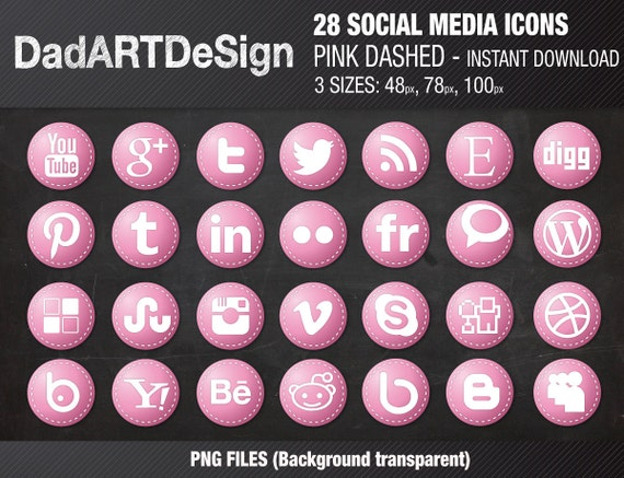 28 Circle social media icons grunge with dashed borders
