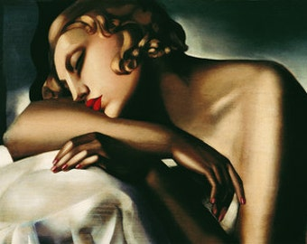 Vintage Art Deco Sleeping Resting Woman Dormeuse 1932 Tamara de Lempicka Giclee Art Print Poster With Stretched Canvas Options