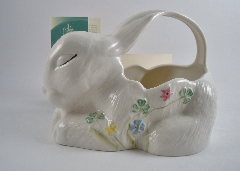 Vintage Belleek China Irish Porcelain Ireland Bunny Shaped