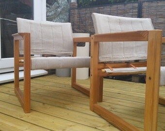 A Swedish safari chair attributed to Karin Mobring.  Pair available