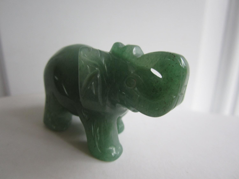 Green Aventurine Carved Crystal Elephant Figurine Statue