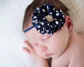 """Navy Baby Headband - Polka Dot Headband - Rhinestone Jewel Headband - 2"""" Flower Headband - Baby Girl Headband - Infant Headband"""