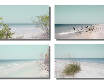 Dreamy Beach Photography Set 4 Prints Aqua blue Turquoise wall decor