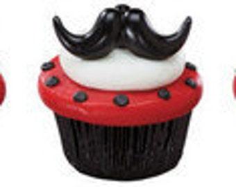 mustache cupcake rings