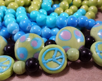ON SALE, Peace Sign, Polka Dot, Lampwork, Glass, Beads, 8mm, Rounds, Lime Green and Turquoise Blue - Over 130 Piece Jewelry Making Bead Kit