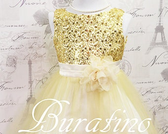 Flower Girl Sequin Dress, Flower Girl Dresses in Many colors Communion White dress, (ets0155gld)