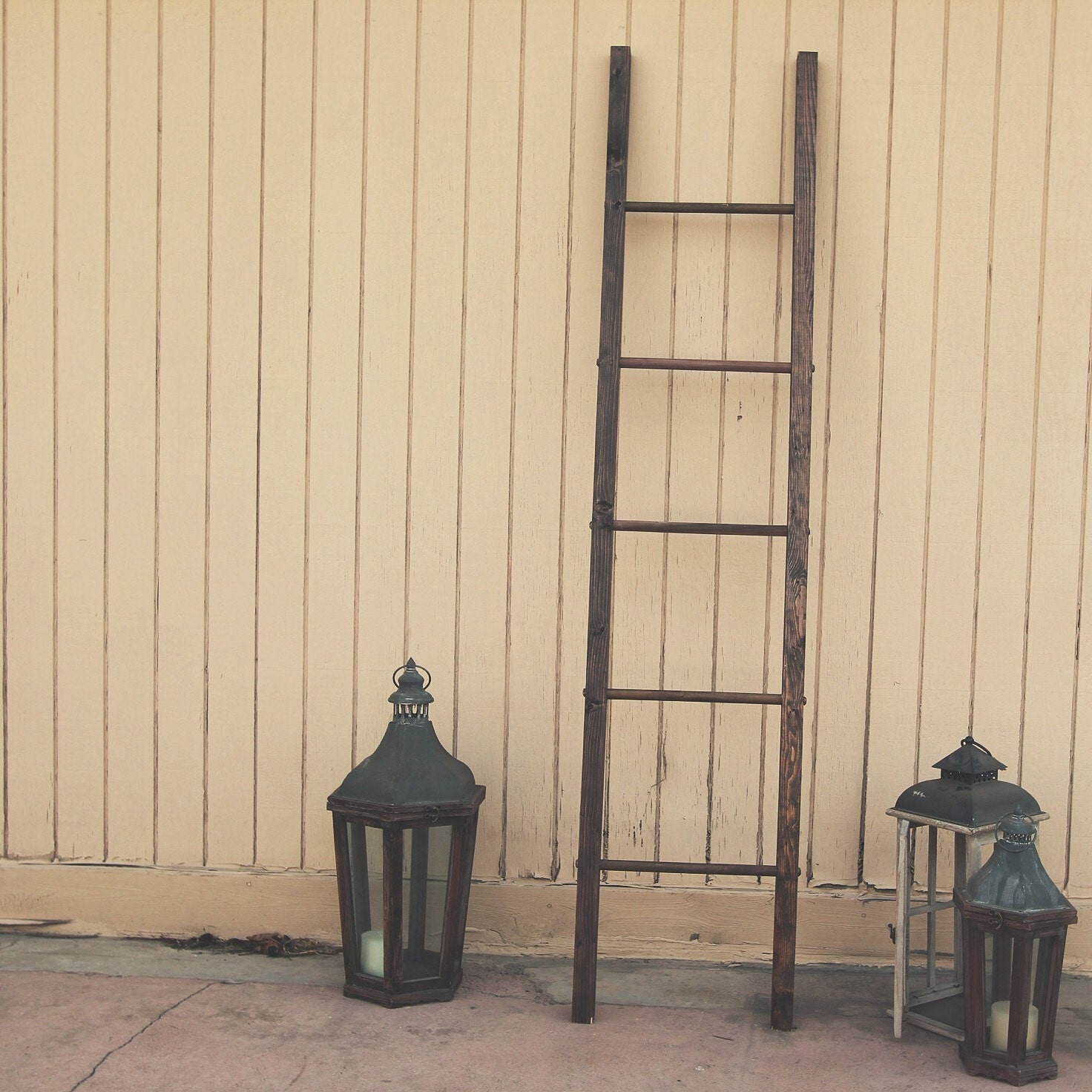 Rustic wooden blanket ladder 72x16 by mxowoodworking on etsy for Decor ladder