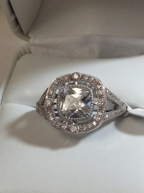Halo Cushion Cut Engagement Ring Split Shank Sterling