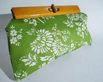 Clutch Purse with recycled wooden handle