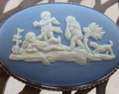 Wedgwood Sterling Silver Cavorting Putti Cherubs and Puppy Blue Cameo