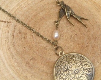 Antique Brass Bird Pearl Locket Necklace Victorian Jewelry Gift Vintage Style