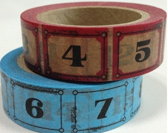 Numbers Washi Tape -- Japanese Washi Tape -Deco tape-- 15mm x 10M---2 Styles to choose