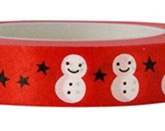 On Sale!  Snowman washi Tape  -Deco tape-- 10mm x 15M