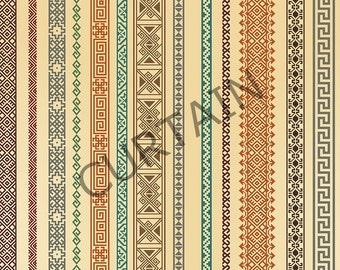 "Pair of Rod Curtain Panels, Striped Ikat Ethnic Pattern 51""x78"" Drapery Window Treatments Set SALE"