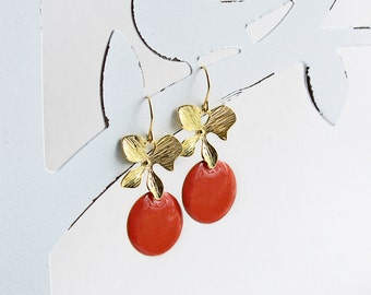Ich bin Luxus - 'Emaille for YOU - hummer' orchid earrings